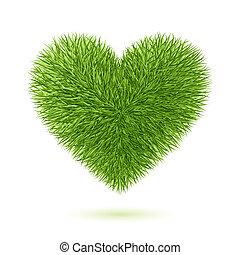 coeur, symbole, herbe