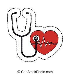 coeur, symbole, icône, stéthoscope, cardiologie
