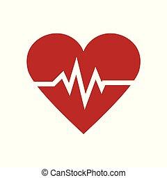 coeur, symbole, illustration, minimalisme, vecteur, pouls, médecine, rouges, icône