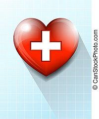 coeur, symbole médical, fond