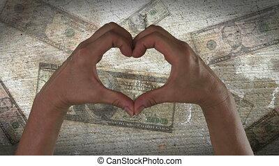 coeur, symbole, mains, argent