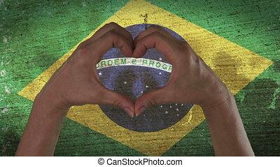 coeur, symbole, mains, drapeau, brésilien