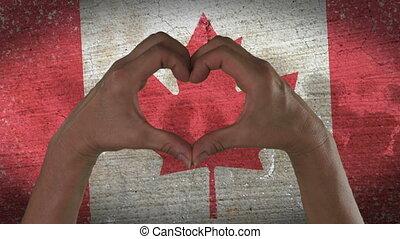 coeur, symbole, mains, drapeau, canadien