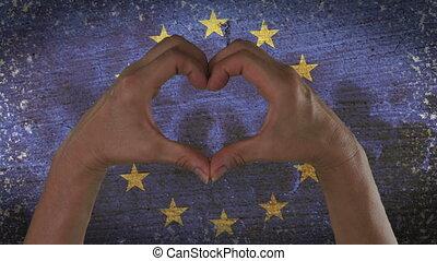 coeur, symbole, mains, drapeau, européen