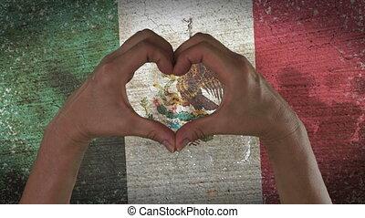 coeur, symbole, mains, drapeau, mexique