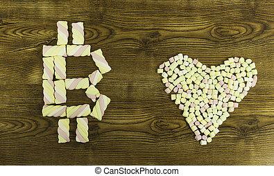 coeur, symbole, marshmallows., dessiné