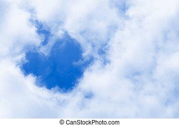 coeur, symbole, nuages, amour