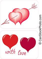 coeur, symbole, valentines, -, jour