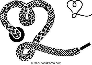 coeur, symbole, vecteur, lacet