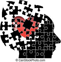 coeur, tête, puzzle, puzzle, pieces., vecteur, brise, homme