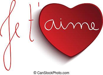 coeur, t'aime, valentin, jour, je