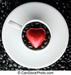coeur, tasse à café
