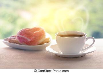 coeur, tasse à café, formé, beignet, arrière-plan., fumée