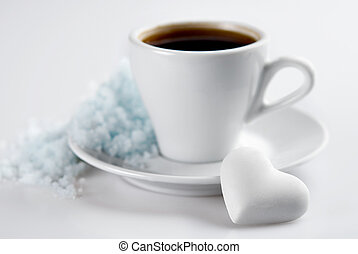 coeur, tasse à café, formé, dof, neige, bonbon, hill., petit