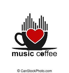 coeur, tasse à café, lettrage, spectre, musique
