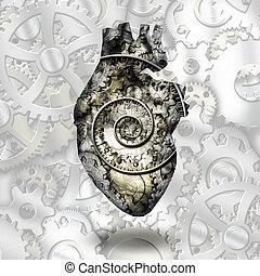coeur, temps, engrenages, humain, spirial