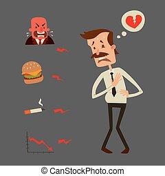 coeur, tension, risque, infarctus, problèmes, illustration,...