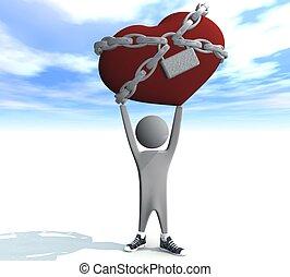 coeur, tenue, homme, chaînes, rouges