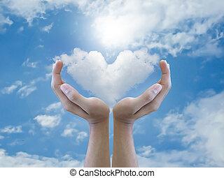 coeur, tenue, nuage, main