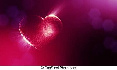 coeur, texte, rays., usage, espace, seamless, particules, champ, animation, rouges, 3d, v26, formulaire, bokeh., fond, jour mariage, lueur, lumière, valentines, profondeur, ou, boucle