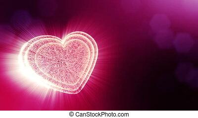 coeur, texte, rays., usage, espace, seamless, particules, champ, animation, v13, rouges, 3d, formulaire, bokeh., fond, jour mariage, lueur, lumière, valentines, profondeur, ou, boucle