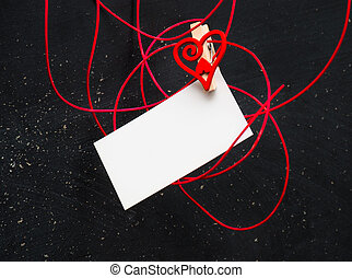 coeur, texte, symbole, love., vide, carte, pinces