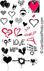 coeur, texture, icône