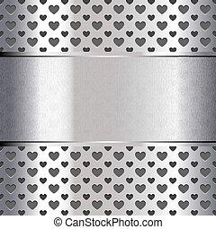 coeur, texture, métallique, forme, fond, perforé