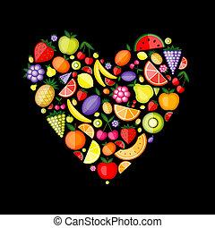 coeur, ton, fruit, conception, énergie, forme