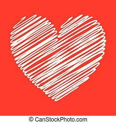 coeur, ton, lignes, texture, élément, arrière-plan., conception, blanc, gribouiller, jour, rouges, valentine?s
