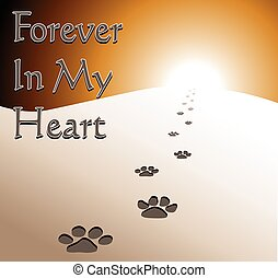 coeur, toujours, -, commémoratif, chien, mon