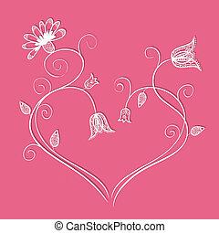 coeur, tourbillons, griffonnage, illustration, forme, fleurs