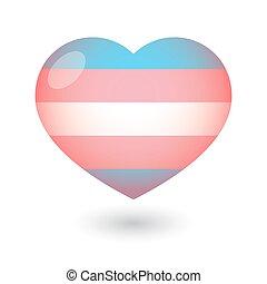 coeur, transgender, fierté, drapeau