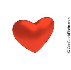coeur, tridimensionnel, isolé, fond, blanc rouge
