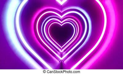 coeur, tunnel/, concept, amour, néon, résumé, -, formes, animation, 4k, 3d