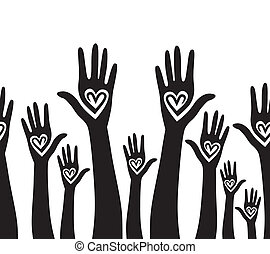 coeur, uni, aimer, gens, seamless, main, arrière-plan.