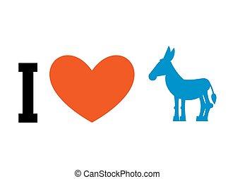 coeur, uni, amour, donkey., democrat., affiche, symbole, politique, élections, etats, america., patriotique, emblème, débat, usa.