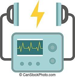coeur, urgence, défibrillateur, icon., isolé, cardiaque, vecteur, équipement, monde médical, unité