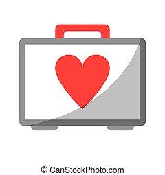 coeur, urgence, kit, aide, premier, soin