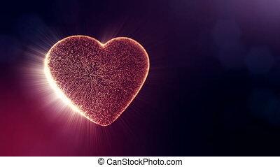 coeur, usage, arrière-plan., seamless, particules, champ, bokeh, animation, rouges, 3d, footage., formulaire, fond foncé, mariage, v42, jour, lueur, valentines, profondeur, ou, boucle