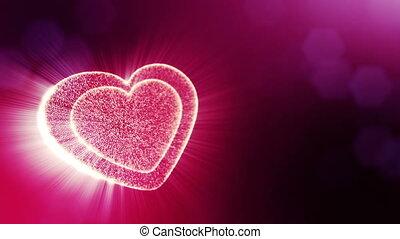 coeur, v12, texte, rays., usage, espace, seamless, particules, champ, animation, rouges, 3d, formulaire, bokeh., fond, jour mariage, lueur, lumière, valentines, profondeur, ou, boucle