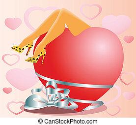 coeur, valentin, rouges, femme, jambe