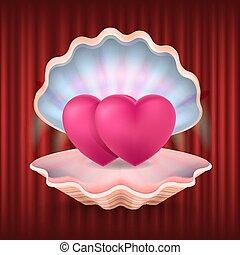 coeur, valentin, vecteur, amour, carte postale, seashell