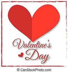coeur, valentine, conception, rouges, jour, carte