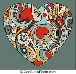 coeur, valentine, symbole, -, jour, rue.