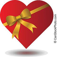 coeur, valentines, arc rouge
