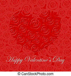 coeur, valentines, roses, jour, rouges, heureux