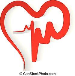 coeur, vecteur, amour, rouges, cardiogramme