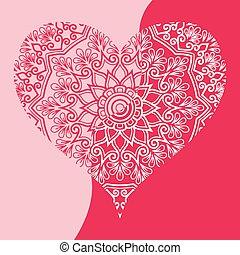 coeur, vecteur, art, agrafe, valentines, salutation, papier, conception, blanc rouge, jour, carte