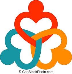 coeur, vecteur, collaboration, illustration, consultants